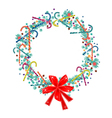 Christmas Wreath with Candy Canes and Red Bow vector image