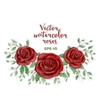 watercolor red roses frame vector image