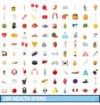 100 health icons set cartoon style vector image