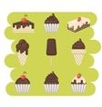 Ice cream and cake set vector image