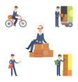 postman delivery man character courier vector image