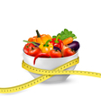 Diet meal Vegetables in a bowl with measuring tape vector image