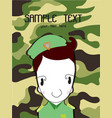 cute cartoon of a soldier background green vector image