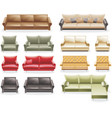 furniture icon set sofas vector image