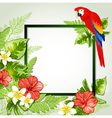 Red tropical flowers and parrot vector