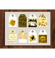 Set of gold vintage cards vector image