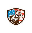 Welder Looking Side USA Flag Crest Retro vector image