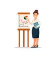 businesswoman explaining information graphics on vector image
