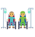 cancer patient on wheelchair with sad happy face vector image