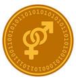 Heterosexual symbol digital coin vector image