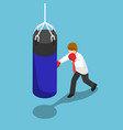isometric businessman punch the blue punching bag vector image