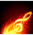 Music fire treble clef background vector image