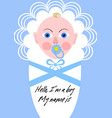 new born boy announcement baby in blue design vector image