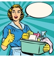 Quality home cleaning pop art retro housewife vector image