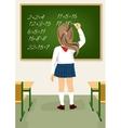 schoolgirl solving arithmetical on blackboard vector image