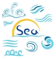 Set the wave sea sun i vector image
