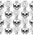 Skull and candle occult seamless pattern vector image