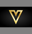 v gold golden letter logo icon design vector image