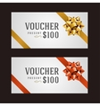 Voucher template with ribbon and bow vector image