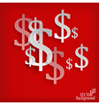 White dollar symbols on red background vector image