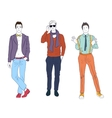 Handsome young guys men models in casual modern vector image