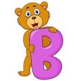 Alphabet B with bear cartoon vector image