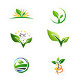 agriculture farm plant grow logo set vector image vector image