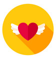 heart with wings circle icon vector image