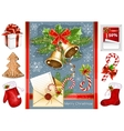 Collection of Christmas traditional objects vector image vector image
