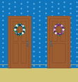 Wooden doors with flower wreaths vector image