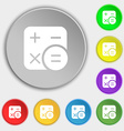 Calculator icon sign Symbol on eight flat buttons vector image