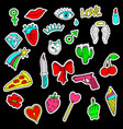 colorful set of doodle fashion patch badges vector image