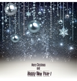 Elegant christmas background with blue baubles and vector image
