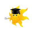 Funny cartoon sun wearing graduation cap vector image