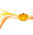 orange waves and halloween pumpkin on white vector image