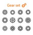 Set of machine gears or cogwheels Gear wheels vector image