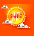 sun paper cut summer sale vector image