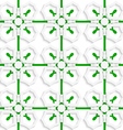White geometric ornament with green net seamless vector image