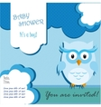 Baby shower card design with owl vector image