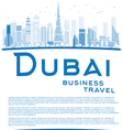 Outline Dubai City skyline with blue skyscrapers vector image