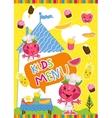 Colorful kids meal menu template vector image