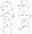 set teapot silhouette vector image
