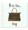 Flashcard letter B is for bag vector image