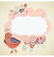 Frame for your text with bird and flowers vector image