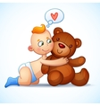 Baby boy redhead hugs Teddy Bear toy on a white vector image