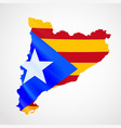 hanging catalonia flag in form of map catalonia vector image