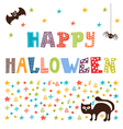 Happy Halloween card with cat spider and bat vector image