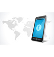 Mobile phone and world map icon vector image