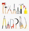 Set of craftsman and gardener tools items vector image