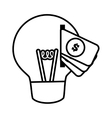 money bulb light idea creativity line vector image
